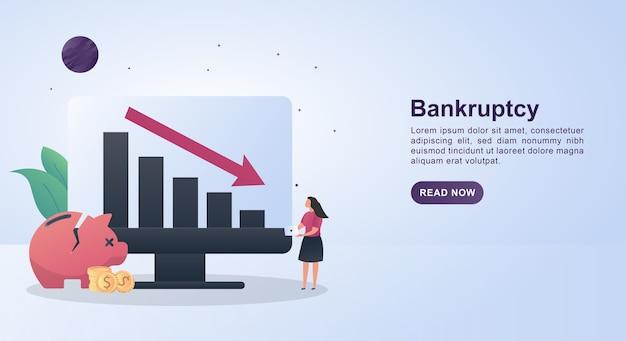 Illustrationskonzept des bankrotts mit einem diagramm und einem absteigenden pfeil.