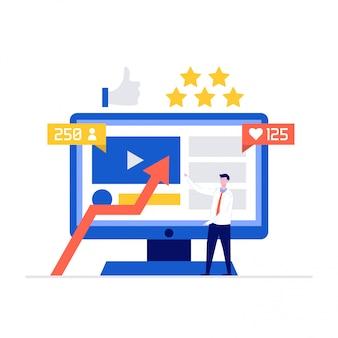 Illustrationskonzept des botschafters der sozialen medien mit zeichen, die nahe computerbildschirm stehen.