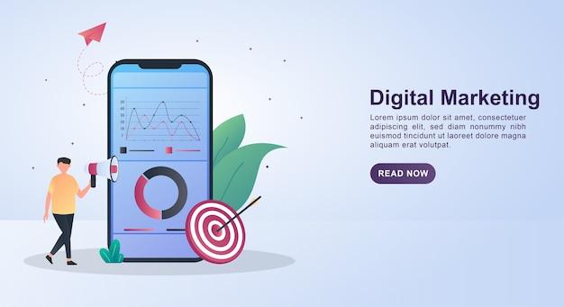 Illustrationskonzept des digitalen marketings mit dem diagramm auf dem bildschirm und der person, die das megaphon hält.