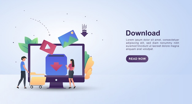Illustrationskonzept des downloads mit leuten, die ordner schieben.