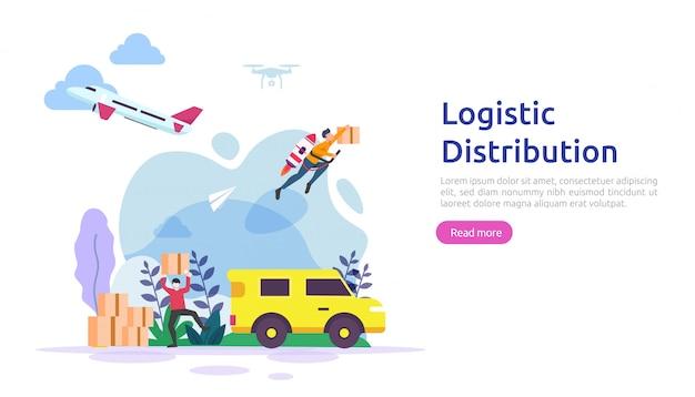Illustrationskonzept des globalen logistikverteilungsdienstes. lieferung weltweit import export versand banner mit personen charakter für web landing page, präsentation, social, poster oder printmedien