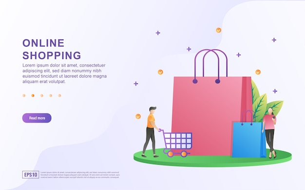 Illustrationskonzept des online-shoppings mit einer großen einkaufstasche für banner