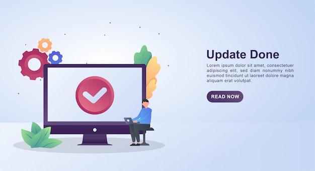 Illustrationskonzept des updates mit einem häkchen auf dem bildschirm, das anzeigt, dass das update abgeschlossen ist.