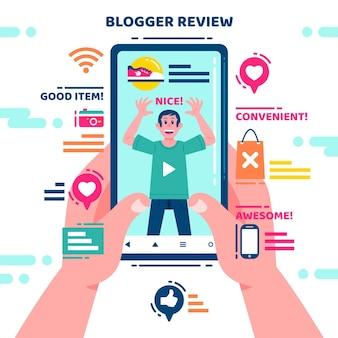 Illustrationskonzept für blogger-bewertungen
