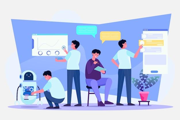 Illustrationskonzept für multitasking und zeitmanagement