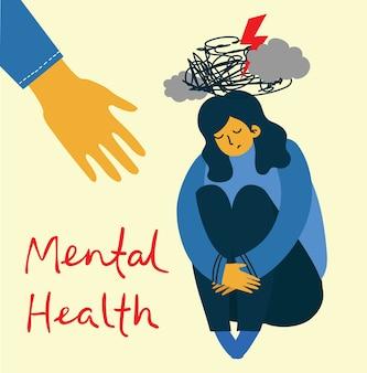 Illustrationskonzept für psychische gesundheit. junger mann und frau mit sturm im kopf. psychologie visuelle interpretation der psychischen gesundheit im flachen design
