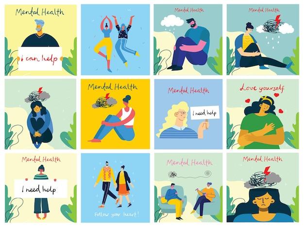 Illustrationskonzept für psychische gesundheit. psychologie visuelle interpretation der psychischen gesundheit im flachen design