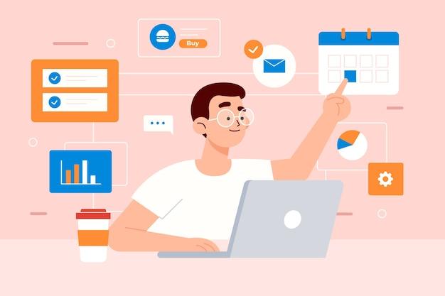 Illustrationskonzept mit multitasking Kostenlosen Vektoren