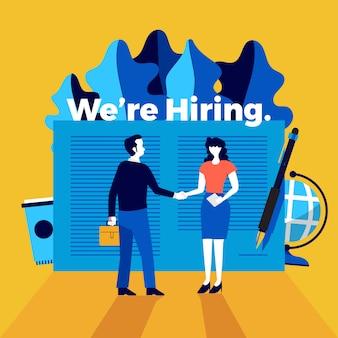 Illustrationskonzept stellen wir ein. kündigen sie an, einen mitarbeiter zu finden und einen mitarbeiter für das unternehmen zu rekrutieren. veranschaulichen.