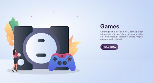 Illustrationskonzept von spielen mit einer großen konsole.