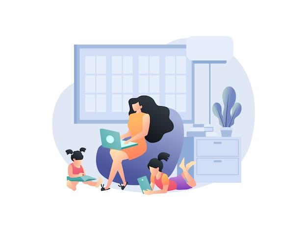Illustrationskonzepte über das arbeiten von zu hause mit der familie