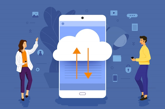 Illustrationskonzeptgeschäftsmann, der zur mobilen anwendung zusammenarbeitet, die cloud-technologie aufbaut. veranschaulichen.