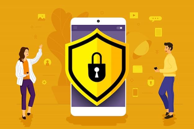 Illustrationskonzeptgeschäftsmann, der zur mobilen anwendung zusammenarbeitet, die sicherheitstechnologie zusammenbaut. veranschaulichen.