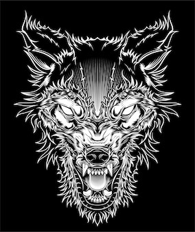 Illustrationskopf wilder wolf, entwurfsschattenbild auf einem schwarzen hintergrund