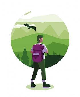 Illustrationslandschaft mit bergen und reisendwanderlust
