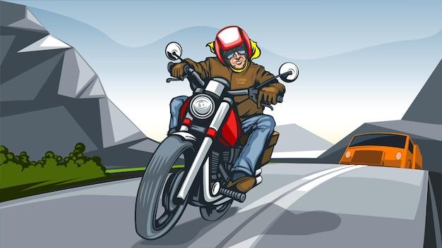 Illustrationslandschaft mit einem motorradfahrer.