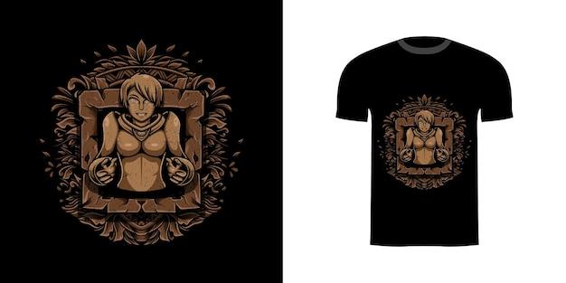 Illustrationsmädchen mit gravurverzierung für t-shirt-design