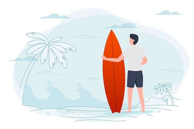 Illustrationsmann an einem strand, der surfbrett hält