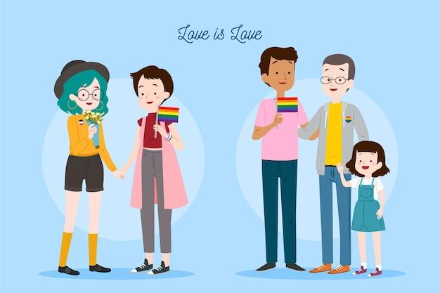 Illustrationspaar und familie am stolz-tagesstil