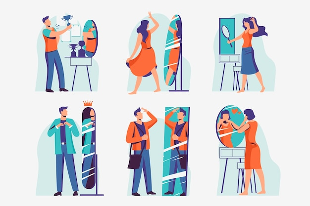 Illustrationspaket mit hohem selbstwertgefühl mit menschen