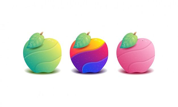 Illustrationssammlung der bunten apfelfruchtlogoschablone.