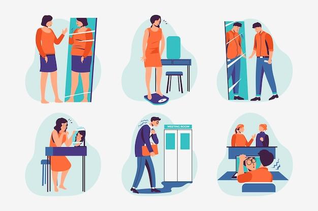 Illustrationssammlung mit geringem selbstwertgefühl mit menschen