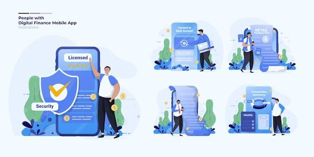 Illustrationssammlung über menschen mit digitaler finanzmobilanwendung
