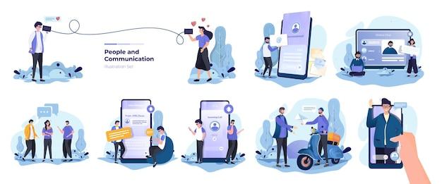 Illustrationssammlungssatz von personen mit kommunikationskonzept