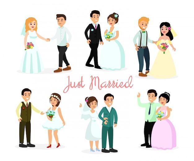 Illustrationssatz der glücklichen charaktere braut und bräutigam lokalisiert auf weißem hintergrund im flachen karikaturstil. weggehende paare, element für hochzeitseinladungen.