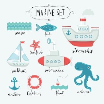 Illustrationssatz der niedlichen marineelemente und des beschriftungsnamens in englisch