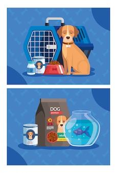 Illustrationssatz der zoohandlung mit elementen