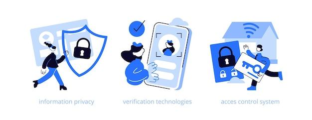 Illustrationssatz des abstrakten konzepts der digitalen sicherheit