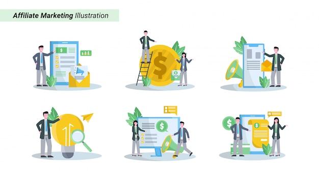 Illustrationssatz des affiliate-marketings fördert produkte und erhält eine fantastische datenbank und einkommen