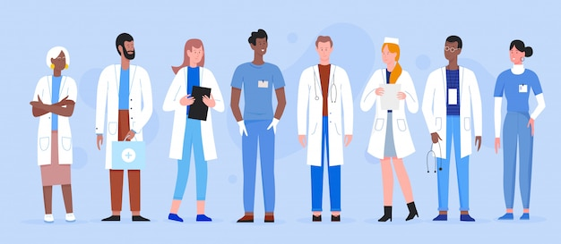 Illustrationssatz des doktormenschenvielfalt. professionelles krankenhauspersonal der karikaturmannfrau, arztcharakter mit stethoskop, arzt und krankenschwester, die zusammen stehen, medizinisches klinik-team