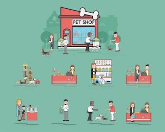 Illustrationssatz des Geschäftes für Haustiere
