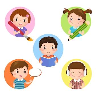 Illustrationssatz des kindermaskottchenlernens. symbol zum schreiben, zeichnen, lesen, sprechen und hören