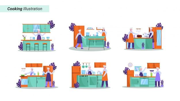 Illustrationssatz des küchenchefs bereitet essen gut für käufer in restaurants vor