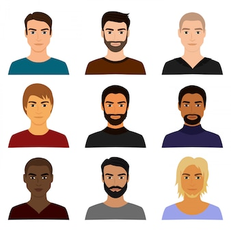 Illustrationssatz des männlichen mannes charakter steht avataren in verschiedenen kleidern und frisuren gegenüber. mann kerl avatar im cartoon flachen stil.