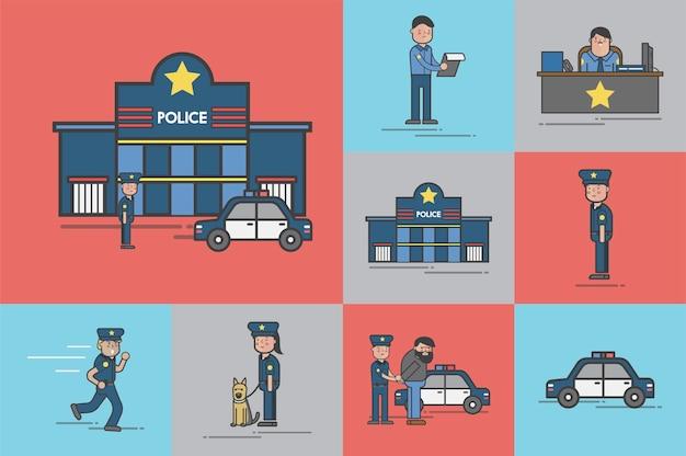Illustrationssatz des polizeivektors