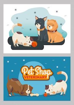 Illustrationssatz des tierarztes veterinär