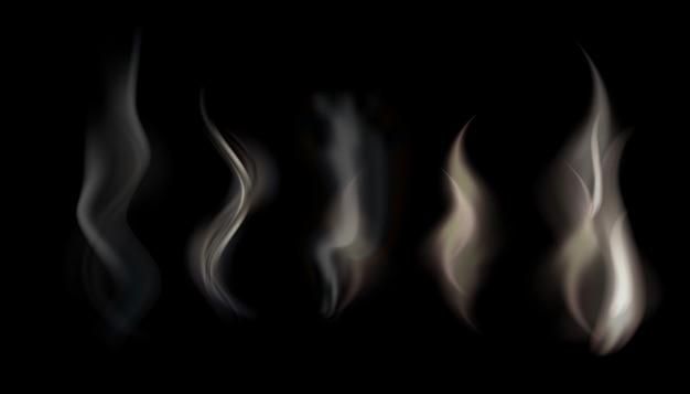 Illustrationssatz des transparenten rauches auf einem schwarzen hintergrund.