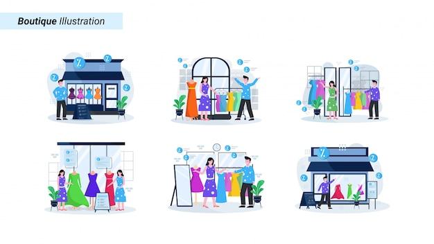 Illustrationssatz eines bekleidungsgeschäfts und einer boutique mit leuten, die handeln, um kleidung und accessoires zu kaufen