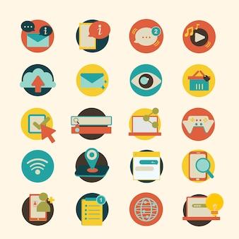 Illustrationssatz ikonen des sozialen netzes