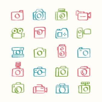 Illustrationssatz kameraikonen