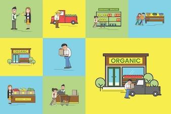 Illustrationssatz Supermarktvektor
