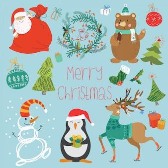 Illustrationssatz tiere, weihnachtsmann und verschiedene dekorationen für weihnachten.