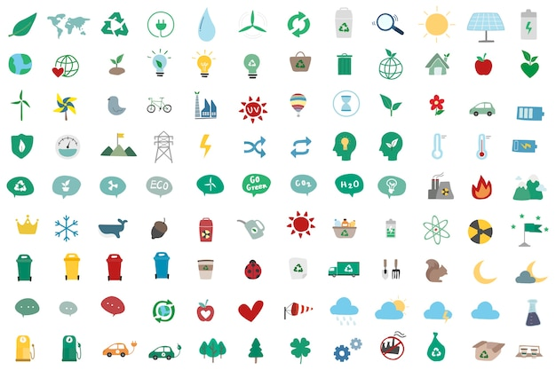 Illustrationssatz umweltsmäßig ikonen
