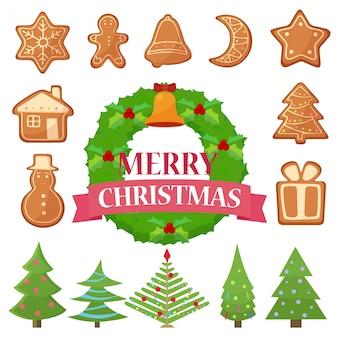 Illustrationssatz verschiedene weihnachtsplätzchen, -kuchen und -bäume mit kranz.
