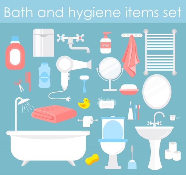 Illustrationssatz von badezimmerelementen. hygiene- und toilettenikonen im karikaturstil.