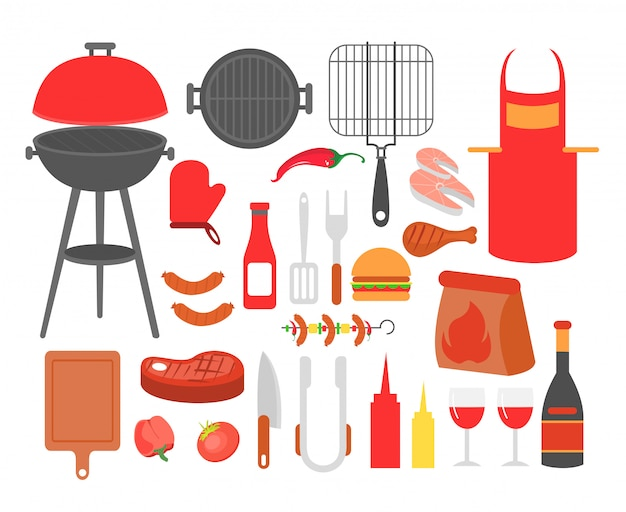 Illustrationssatz von grill, grillsteak, wurst, huhn, meeresfrüchten und gemüse, alle werkzeuge für grillparty, kochen essen draußen.